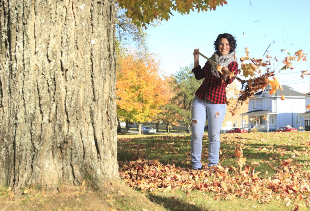 Autumn Beautiful Woman - Landscape Leaf Fly