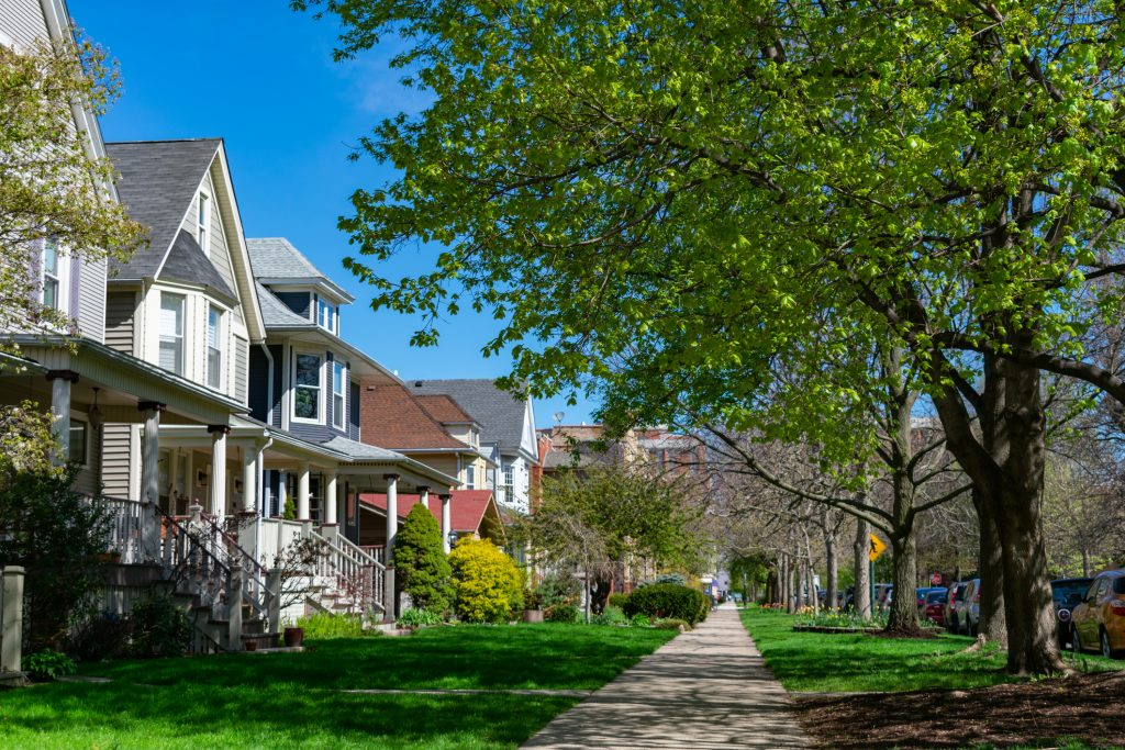 Row of Old Wood Homes with Grass in the North Center Neighborhood of Chicago