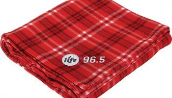 Fleece blanket with the Life 96.5 logo